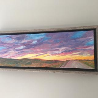 "Frame fits well with this 8x24"" oil painting on gallery wrapped canvas"