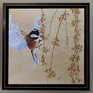 Bird and Berries on distressed canvas