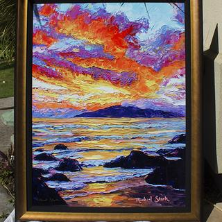30x40 of my best selling Golden Maui Sunset in a GL8 Midnight Gold frame with Black Linen Liner