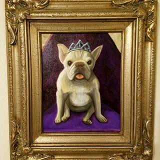 More gold than silver, the perfect frame for this portrait a friend painted of my French bulldog.