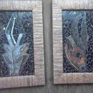 Natural cotton husk frames on my stained glass mosaic African masks.  Love the look !