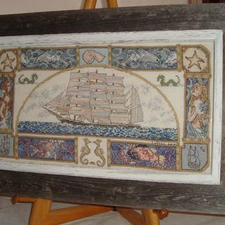 Hand embroidered sampler mounted in Driftwood Grey outer & Whitewash inner frame