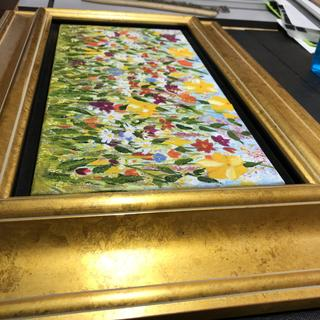 'Every Blossom Is A Soul' original oil painting on stretched canvas, in gold floater frame.