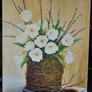 White tulips 36×48 acrylic on canvas