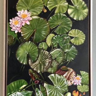 This frame nicely completes my water lily painting.