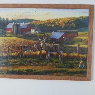 Framed Deer puzzle in Beautiful Custom Made Oak Frame.
