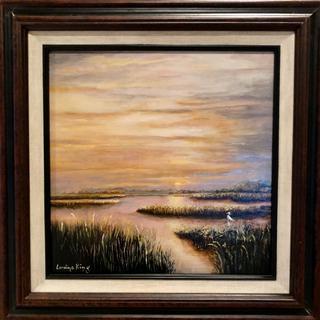 Acrylic on canvas, Marsh at Sunset