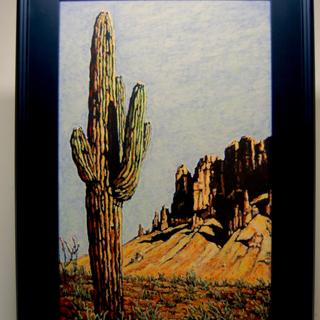 Sentinel and the Superstition Mtns. 14x22 oil pastel on 300lb Arches