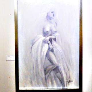 "White Lady, 24"" X 36"" Oil by Jill Baker, for ""Black and White"" show at KORE Gallery in Louisville."