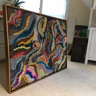 Hooked Rug framed as Wall Hanging