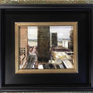 """8""""c10"""" oil on linen panel  River city  Frame from pictureframescom"""
