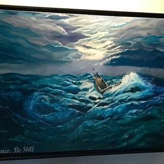 """CF 5 Black frame on 24"""" by 36"""" gallery wrap canvas oil painting  entitled Peace Be Still"""