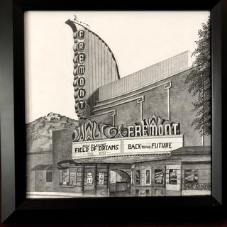 10x10 frame for my pencil sketch on masonite board. A movie theater where I grew up.  Love it.