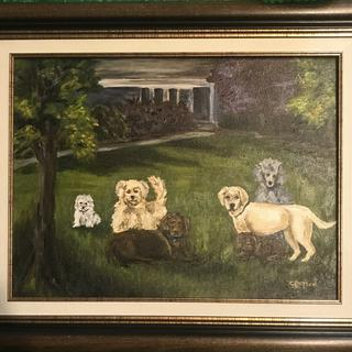 The linen liner adds just the right color balance and warmth to this sweet painting of our dogs.