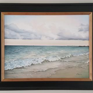 "Day Dream   18x24"" oil on canvas in black and gold Plein Air Frame"