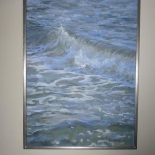 I usually prefer frame-less art, but this silver-leaf floater frame adds to the seascape.