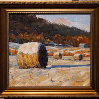 """Round Bales in Winter Field"", by Karl Eric Leitzel, oil on canvas, 18x20 inches"