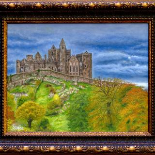 Painting of a photograph I took in Oct. 2018 of the Rock of Cashel in Ireland.  Great frame!