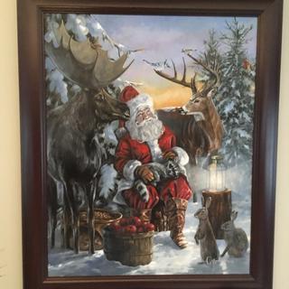 Santa visiting woodland creatures