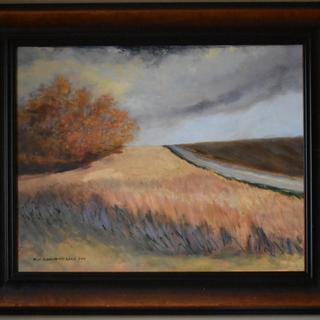 "MKMK oil painting, ""A Time To Reap,"" framed in MOL7 Walnut frame."