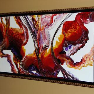 """Manitoba artist Renay Taylor-Besant's fabulous painting in its beautiful new 15 x 30"""" frame."""