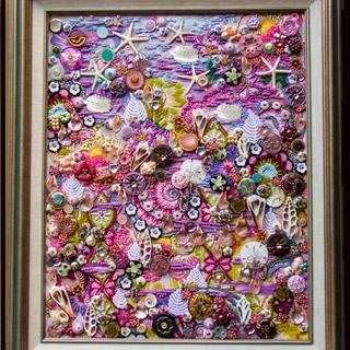 """Pink Shell Dreams"" - Nancy Smeltzer, 2017, mixed media/beaded canvas,buttons, beads& sea shells."