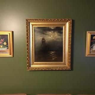 My Great Grandmother's old painting and frame is honored between 2 paintings done by my mother.