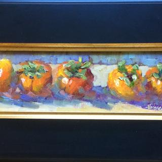 "Five Persimmons by Pat Huber, Salinas, CA, oil on linen, 4""x12"""