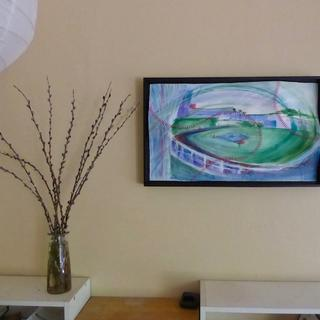 "3D stitched watercolor floater frame  29""x17""x2"" by Candace Wilkinson"