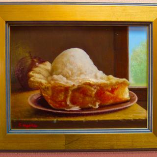 "A Slice of The Pie   8.5x10.5"" framed oil on panel by John A. Sayers"