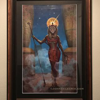 Private commission: Egyptian Goddesss Sekhment framed