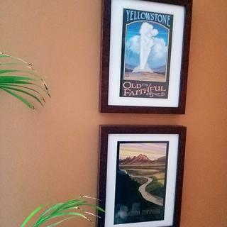 The small posters I bought on my trip to Yellowstone and Grand Teton NPs look great in these frames.