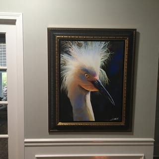 Worried about spruce color, but it is very subdued and the frame works perfectly with the picture.