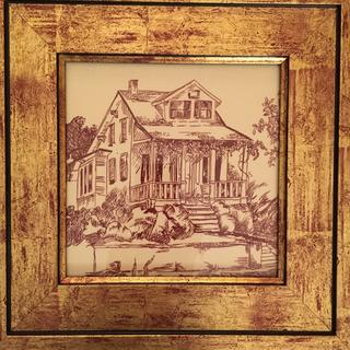 Framed toile fabric, of an historic bungalow from 1906, in which my dear friend lived. Perfect!