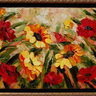 """Sunny florals 18x24"""" original"""