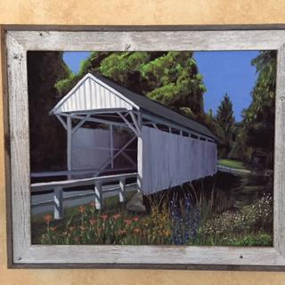 Covered Bridge in White and Gray Barn Wood Frame