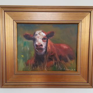 """Spring Calf"" oil on canvas, by Peter Chorao (2019)."