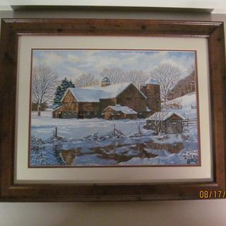 Old Barn Picture Framed Close-up 2.  Painted by MD Taylor