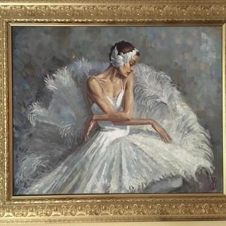 Swan Lake Painting, framed