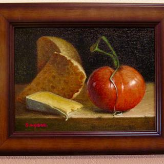 Bread and Tomato  8.5x10.5 framed oil on panel by John A. Sayers