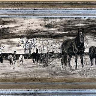"""Curiosity "" wild horse band in Uintah Basin, Utah Claybord Ink Etching"