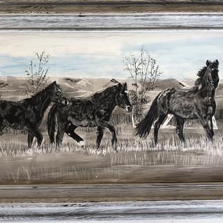 """Taking Flight "" wild horse Stallions of Uintah Basin Utah, Claybord Ink Etching."