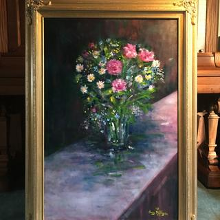 """Floral in Glass Vase"" Oil painting by Anne Milligan."