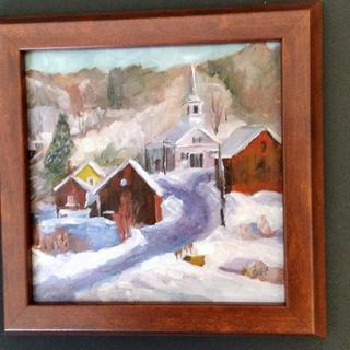 SGF This is an original from a photo of Waits River, Vt 8 x 8 oil on canvas, painted December,  2016