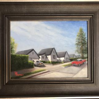 "Out-Of-Place:  a red TBird in an  Homage toEdward Hopper"" Original oil by PatriciaFranco"