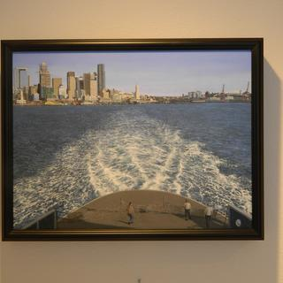 """Acrylic painting """"Wake of the Ferry"""", 18 x 24, in a black SP8 frame."""