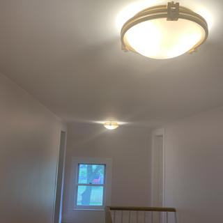 2 light fixtures work well at either end of the hall.
