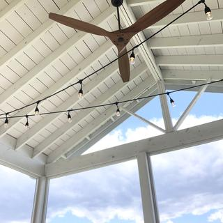 60 inch Aireon Bronze and Walnut Damp Rated Ceiling Fan on 12x16 Screened Porch
