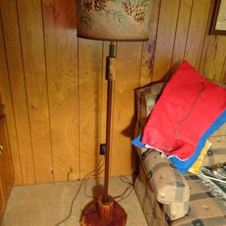 Floor lamp - standard height.  Wood base, so this shade was perfect.