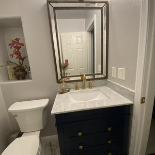 Beautiful mirror!  I get compliments all the time, I also got the lights from Lamps Plus.